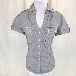 Express striped shirt sleeve button down - L